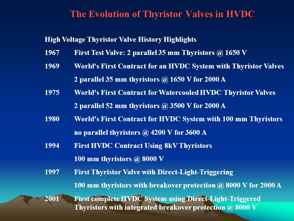 The Evolution of Thyristor Valves in HVDC