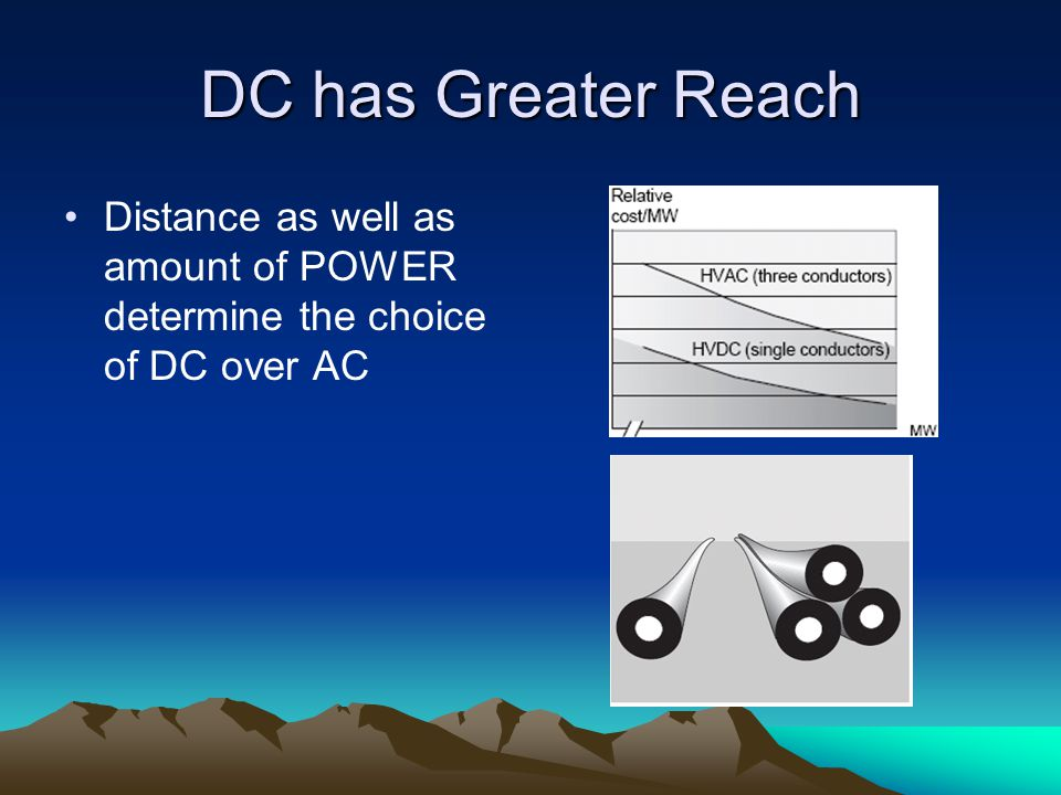 DC has Greater Reach Distance as well as amount of POWER determine the choice of DC over AC