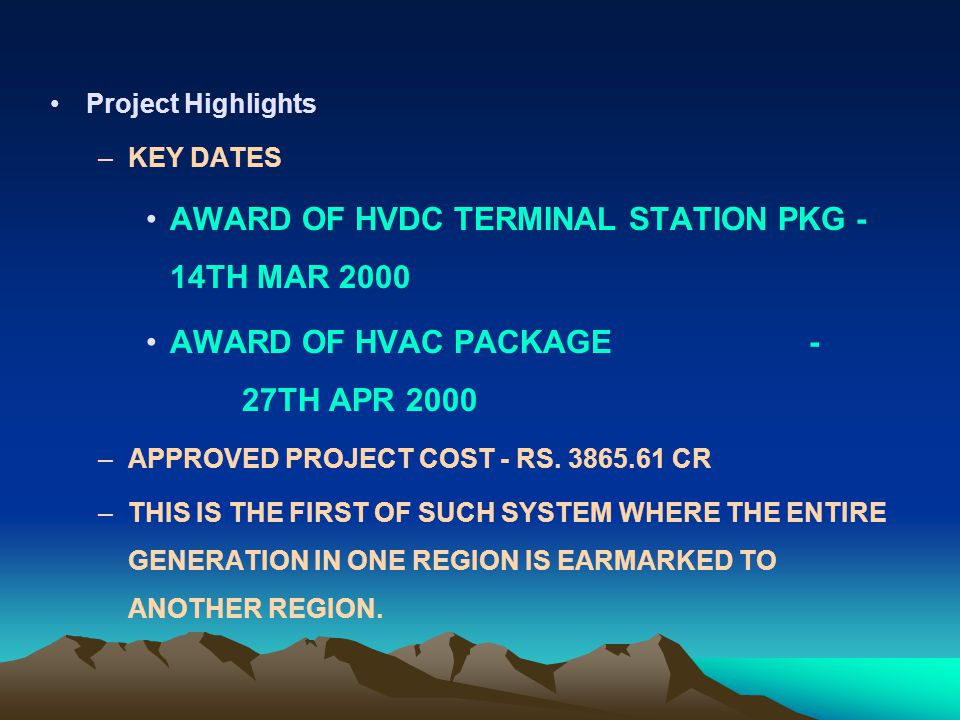 AWARD OF HVDC TERMINAL STATION PKG - 14TH MAR 2000