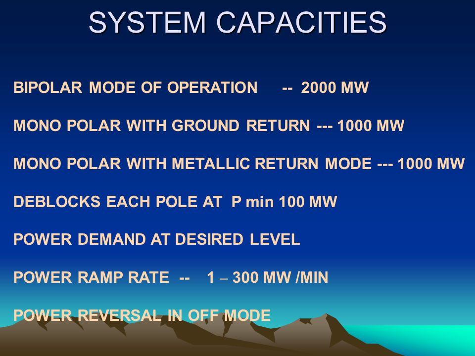 SYSTEM CAPACITIES BIPOLAR MODE OF OPERATION -- 2000 MW