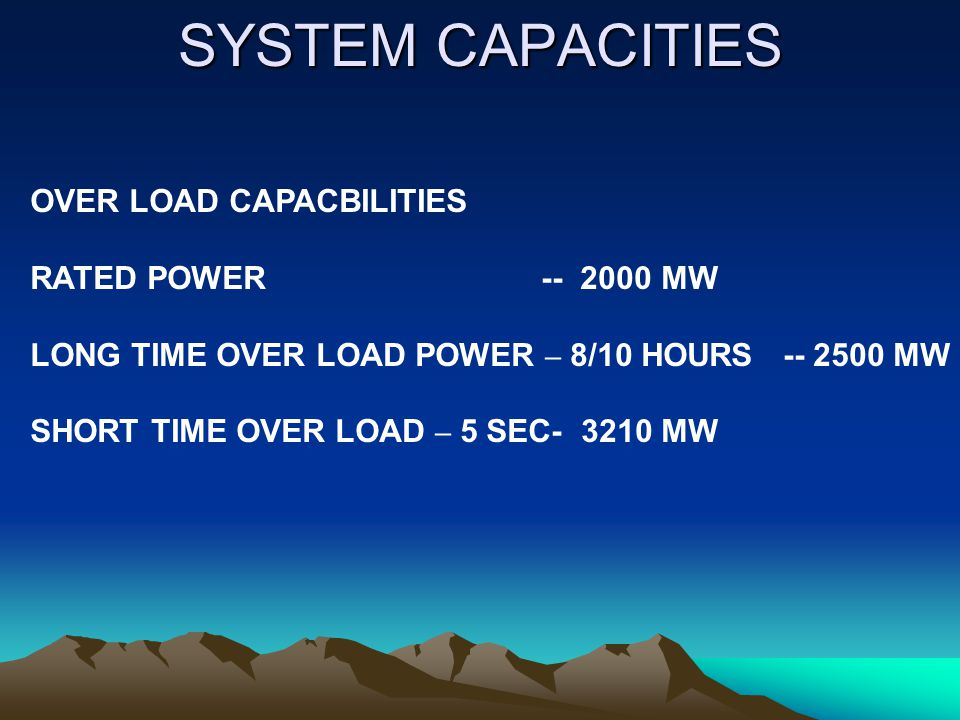 SYSTEM CAPACITIES OVER LOAD CAPACBILITIES RATED POWER -- 2000 MW
