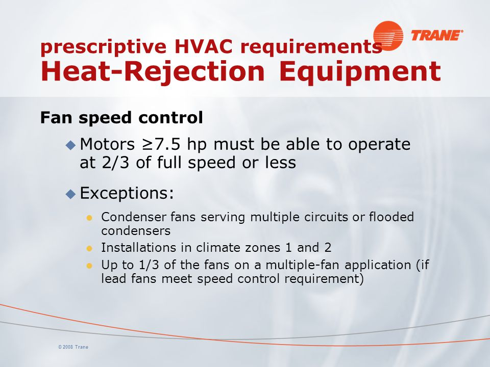 prescriptive HVAC requirements Heat-Rejection Equipment
