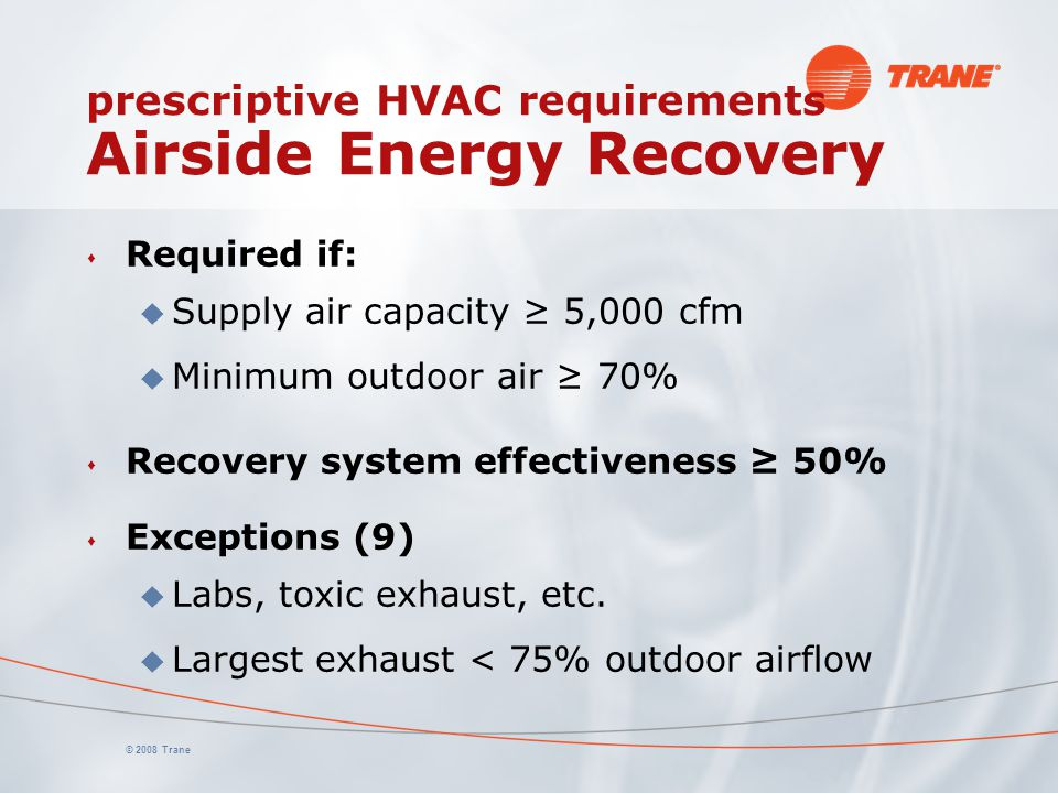 prescriptive HVAC requirements Airside Energy Recovery