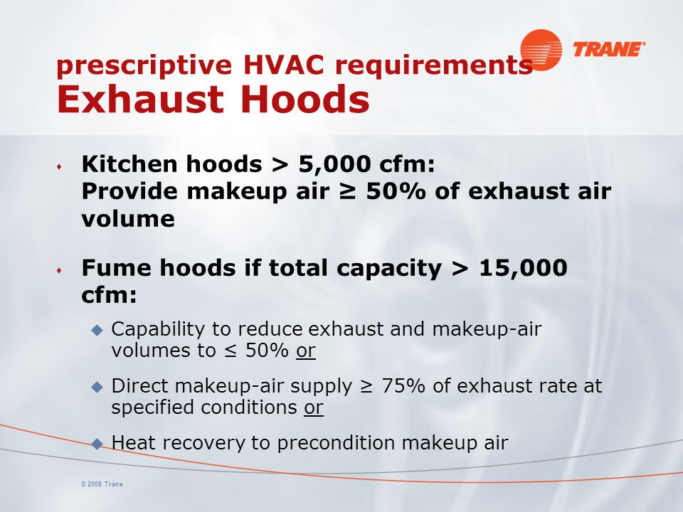 prescriptive HVAC requirements Exhaust Hoods