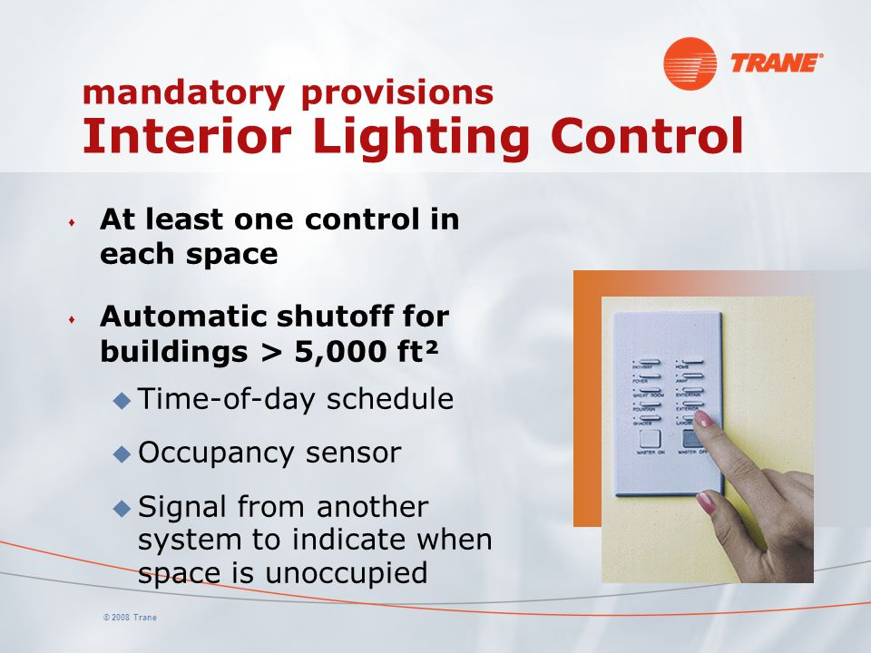 mandatory provisions Interior Lighting Control
