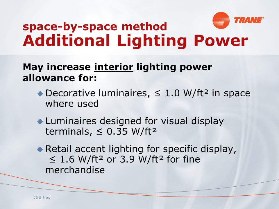 space-by-space method Additional Lighting Power