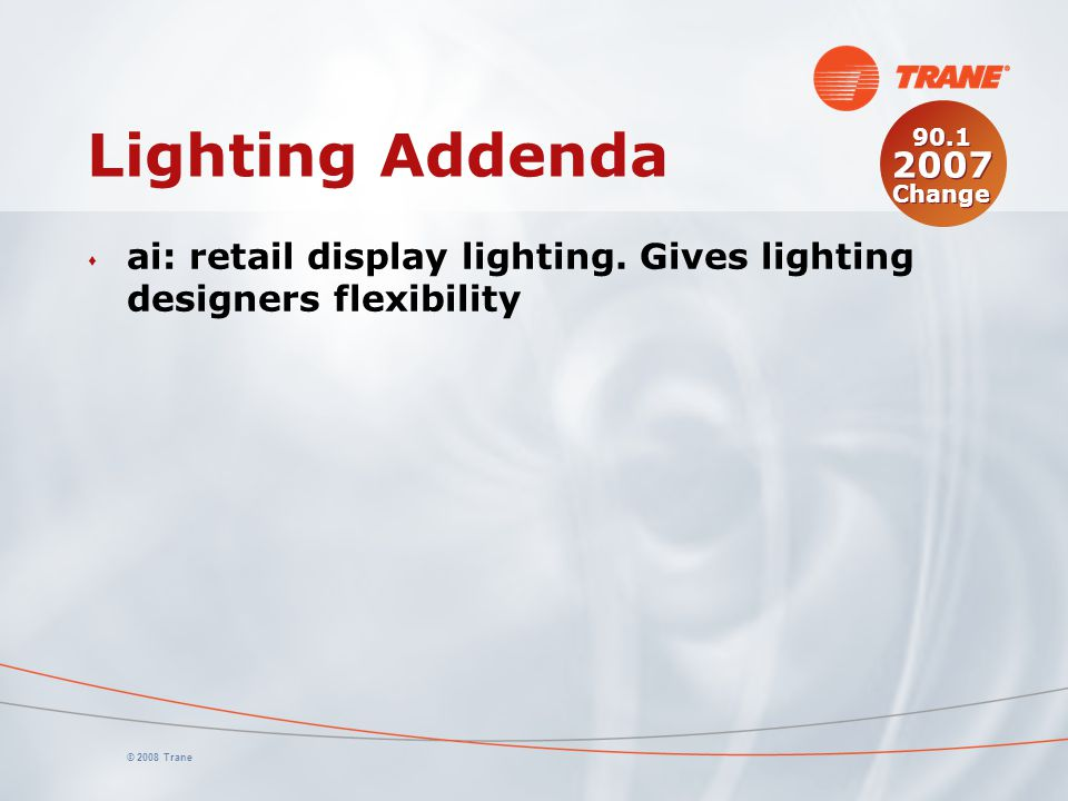 Lighting Addenda 90.1 2007 Change. ai: retail display lighting. Gives lighting designers flexibility.