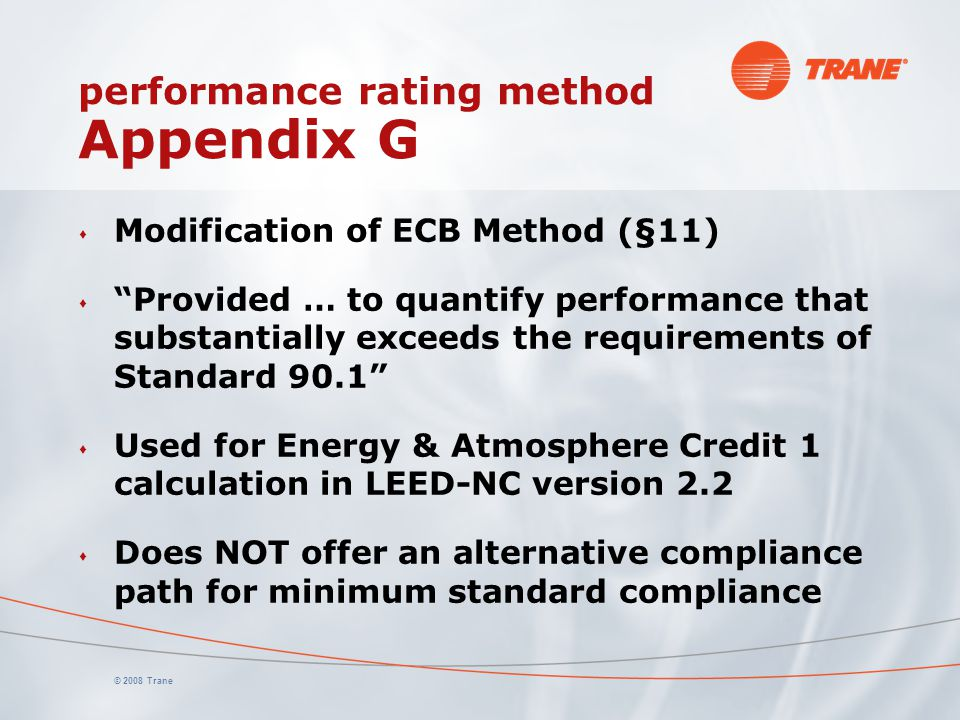 performance rating method Appendix G