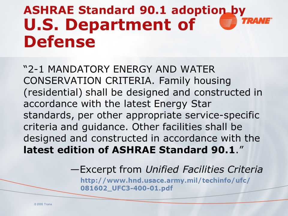 ASHRAE Standard 90.1 adoption by U.S. Department of Defense
