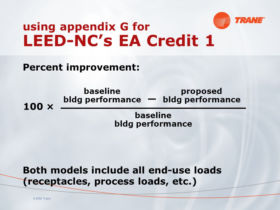 using appendix G for LEED-NC's EA Credit 1