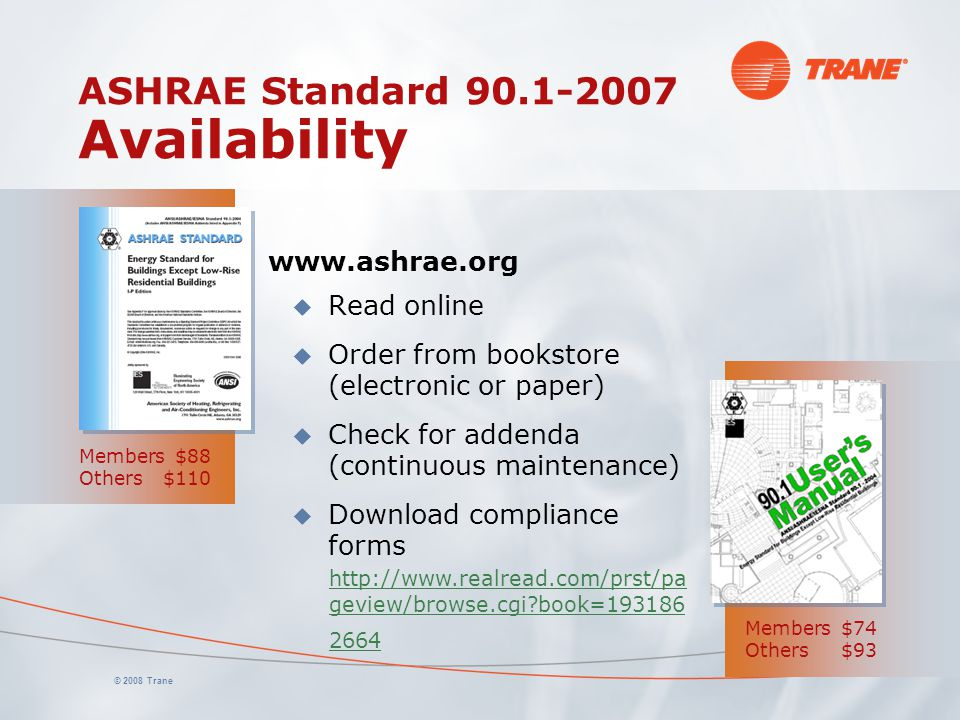 ASHRAE Standard 90.1-2007 Availability