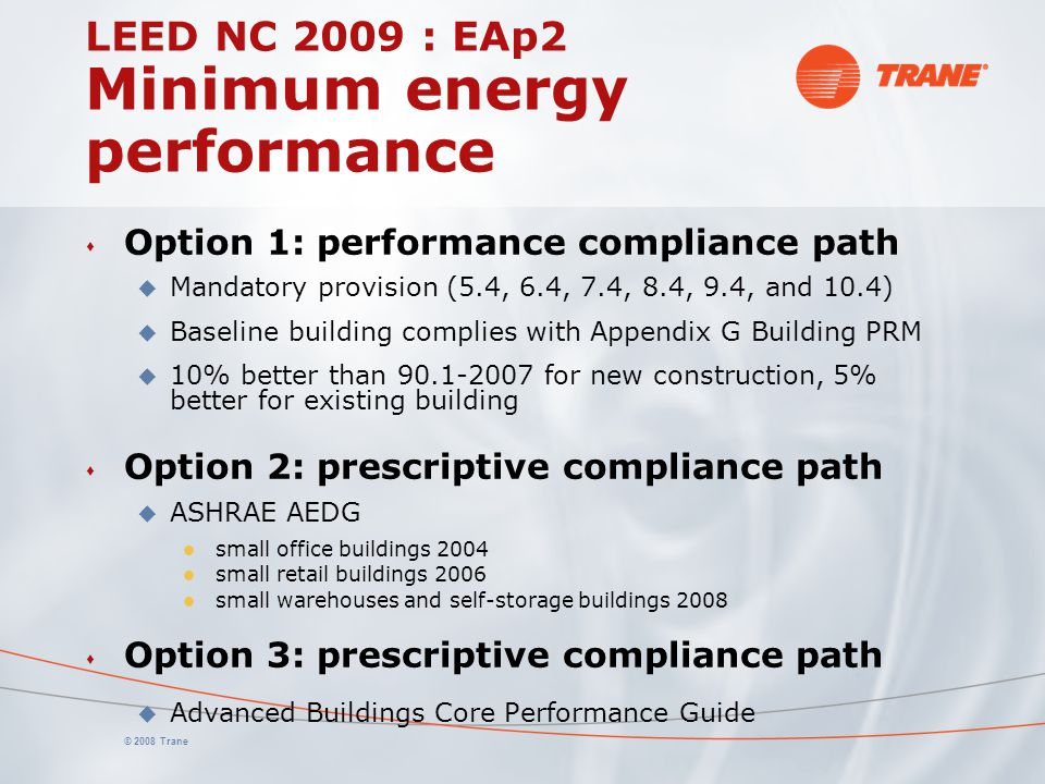 LEED NC 2009 : EAp2 Minimum energy performance