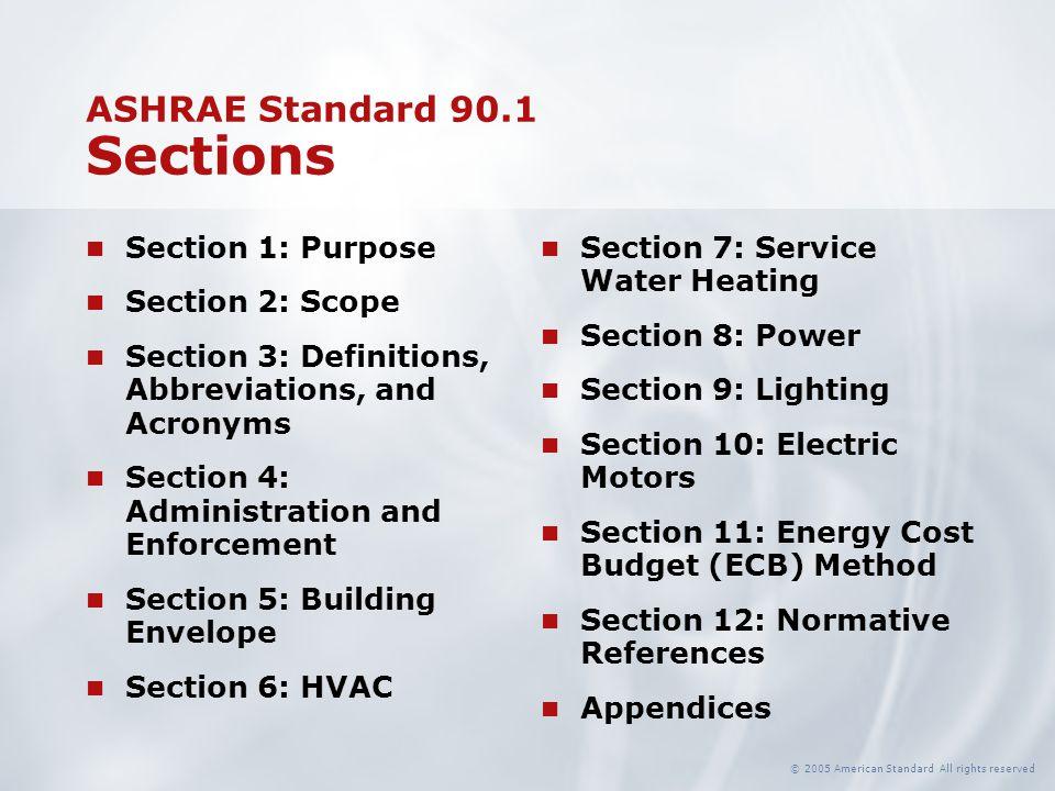 ASHRAE Standard 90.1 Sections
