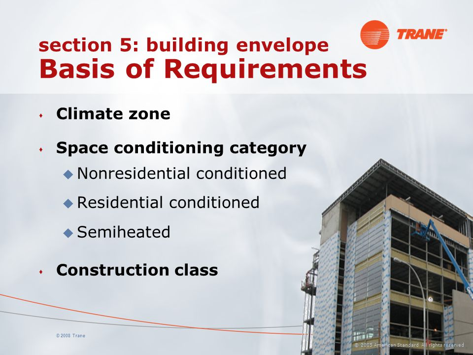section 5: building envelope Basis of Requirements