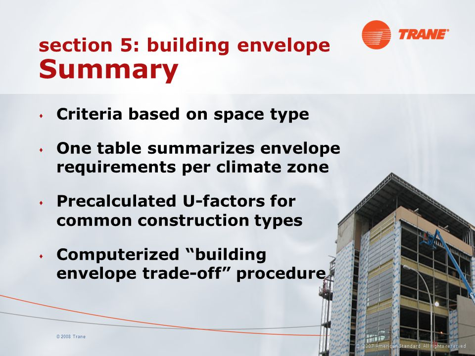 section 5: building envelope Summary
