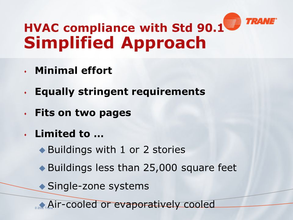 HVAC compliance with Std 90.1 Simplified Approach