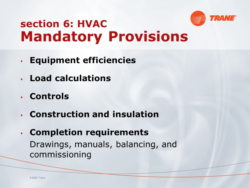 section 6: HVAC Mandatory Provisions