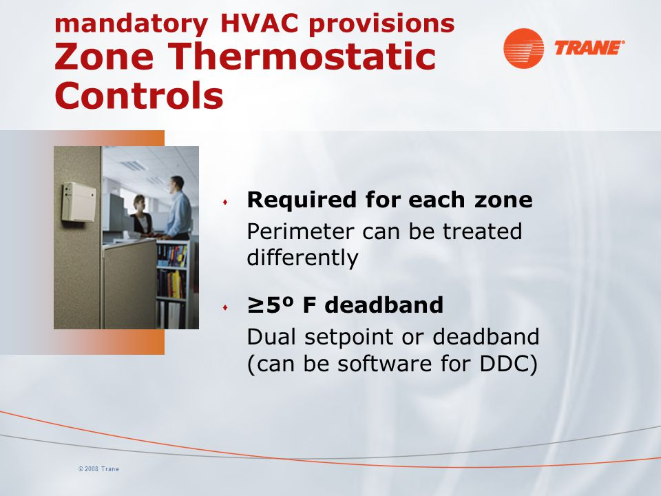 mandatory HVAC provisions Zone Thermostatic Controls