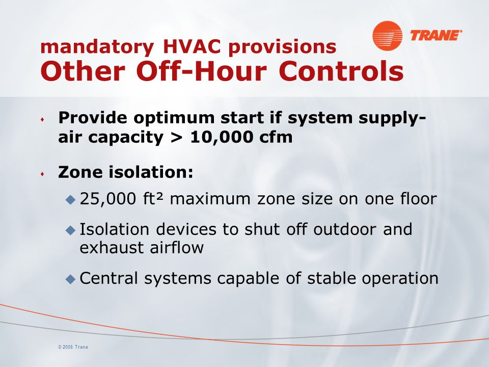 mandatory HVAC provisions Other Off-Hour Controls