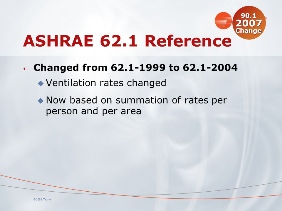 ASHRAE 62.1 Reference Changed from 62.1-1999 to 62.1-2004