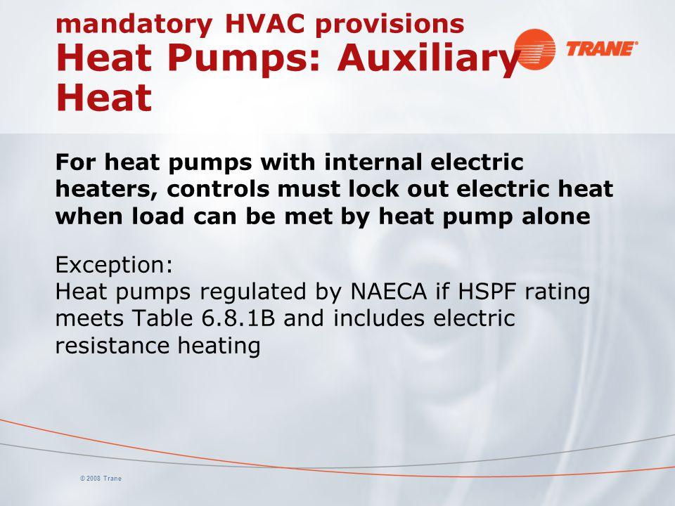 mandatory HVAC provisions Heat Pumps: Auxiliary Heat