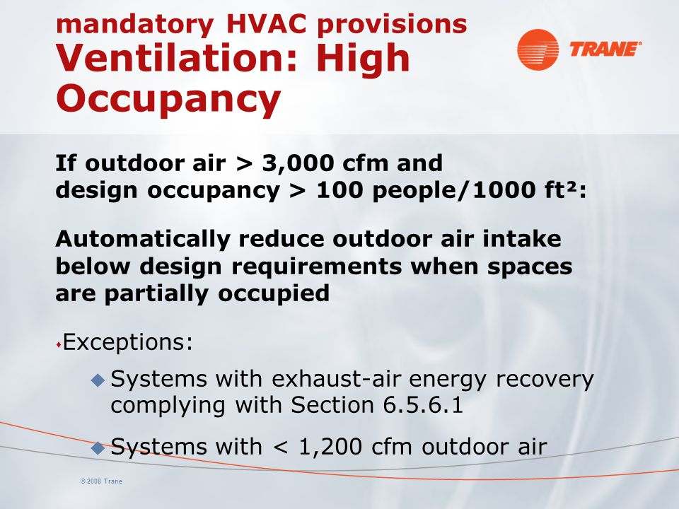mandatory HVAC provisions Ventilation: High Occupancy