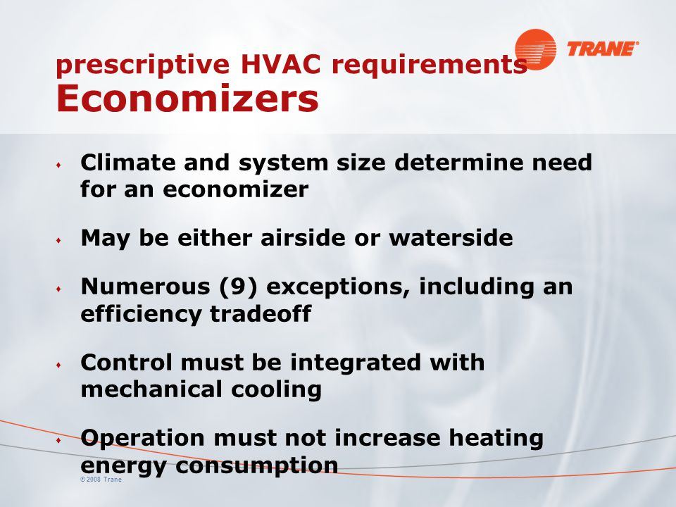 prescriptive HVAC requirements Economizers