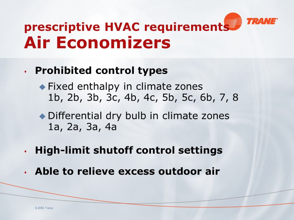 prescriptive HVAC requirements Air Economizers