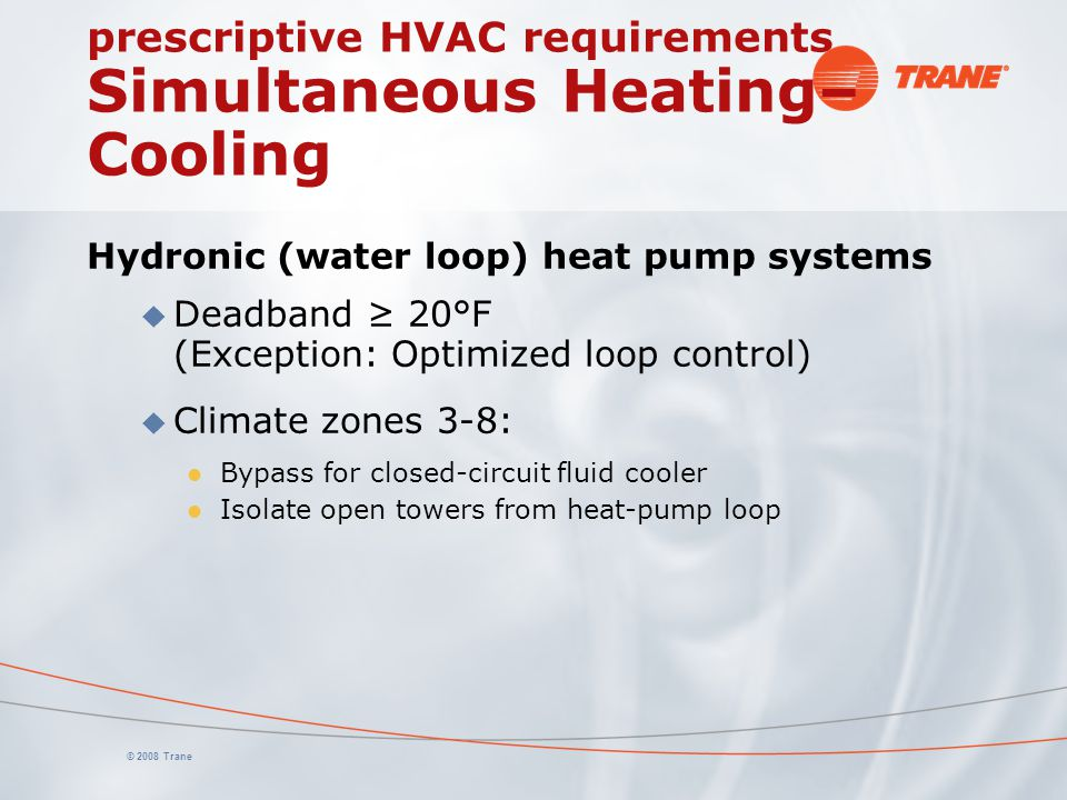 prescriptive HVAC requirements Simultaneous Heating–Cooling