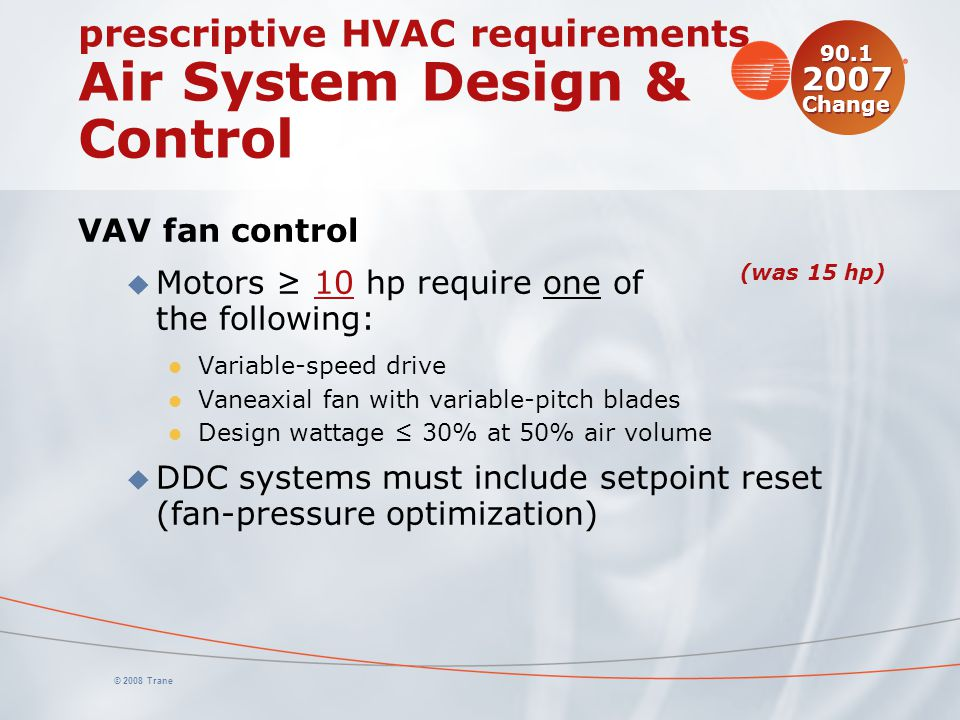 prescriptive HVAC requirements Air System Design & Control