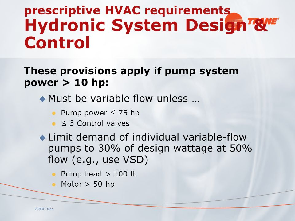 prescriptive HVAC requirements Hydronic System Design & Control