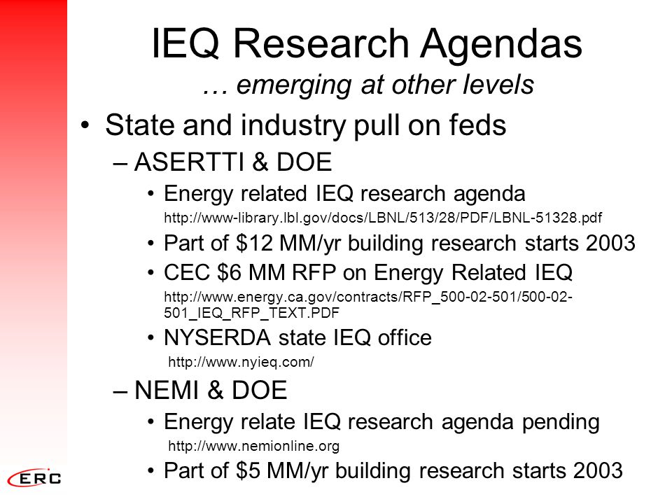 IEQ Research Agendas … emerging at other levels