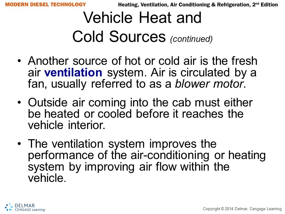 Vehicle Heat and Cold Sources (continued)