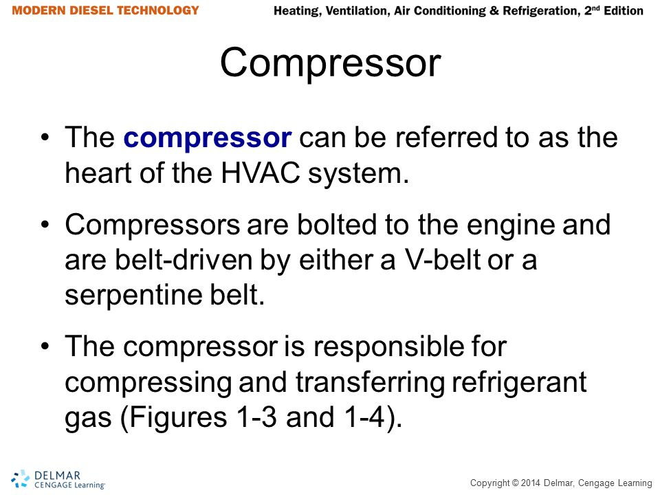 Compressor The compressor can be referred to as the heart of the HVAC system.