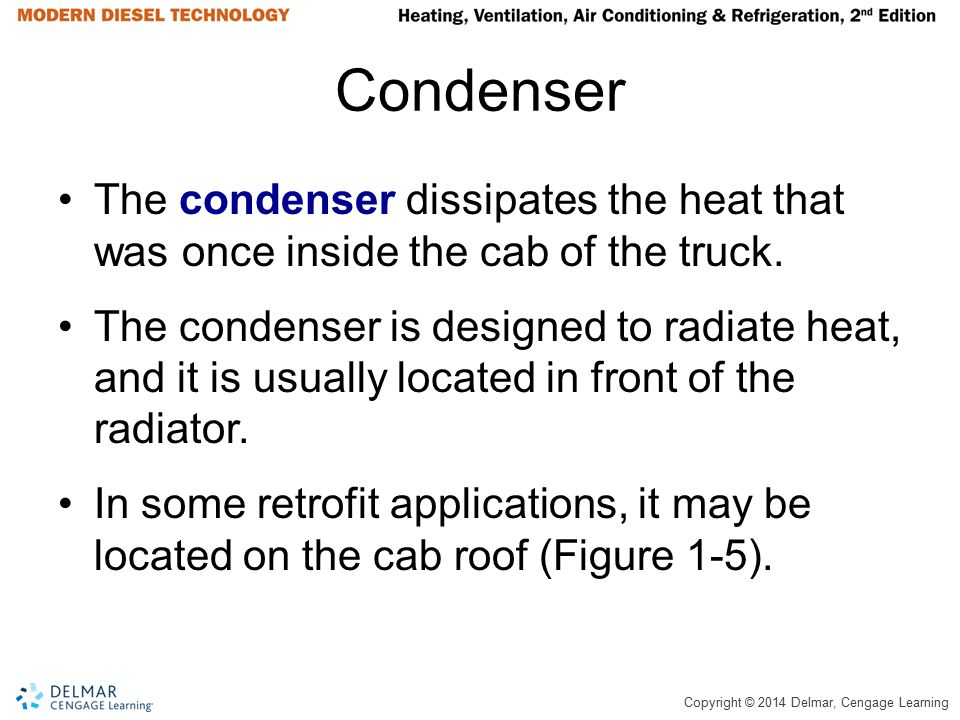 Condenser The condenser dissipates the heat that was once inside the cab of the truck.