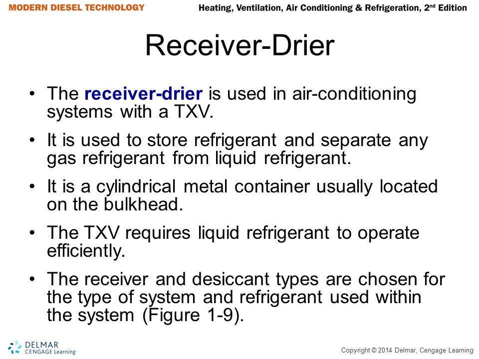 Receiver-Drier The receiver-drier is used in air-conditioning systems with a TXV.