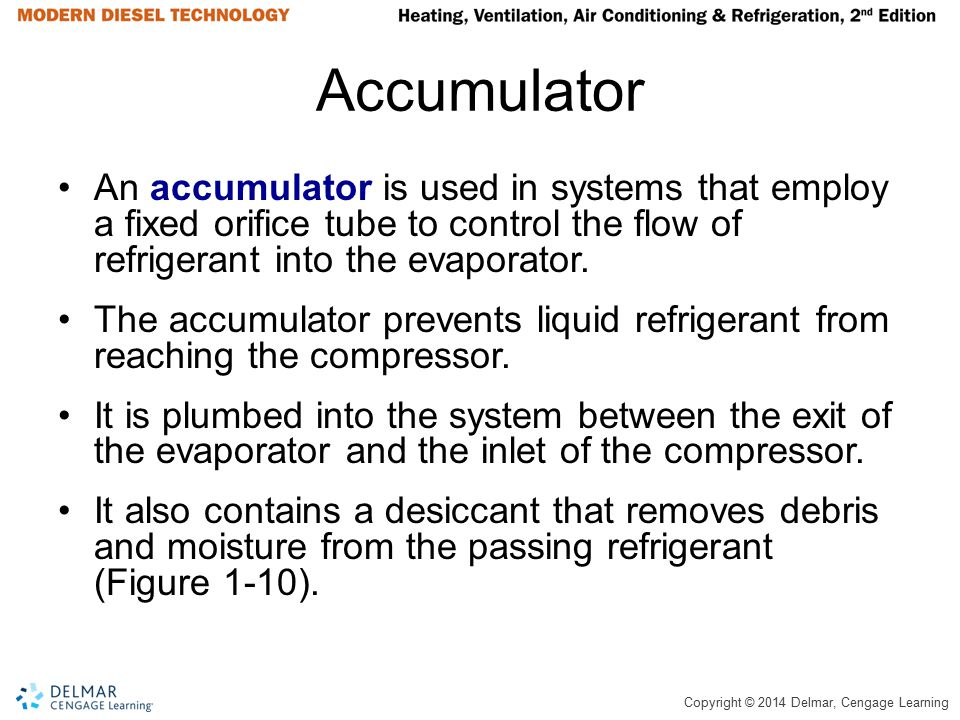 Accumulator An accumulator is used in systems that employ a fixed orifice tube to control the flow of refrigerant into the evaporator.