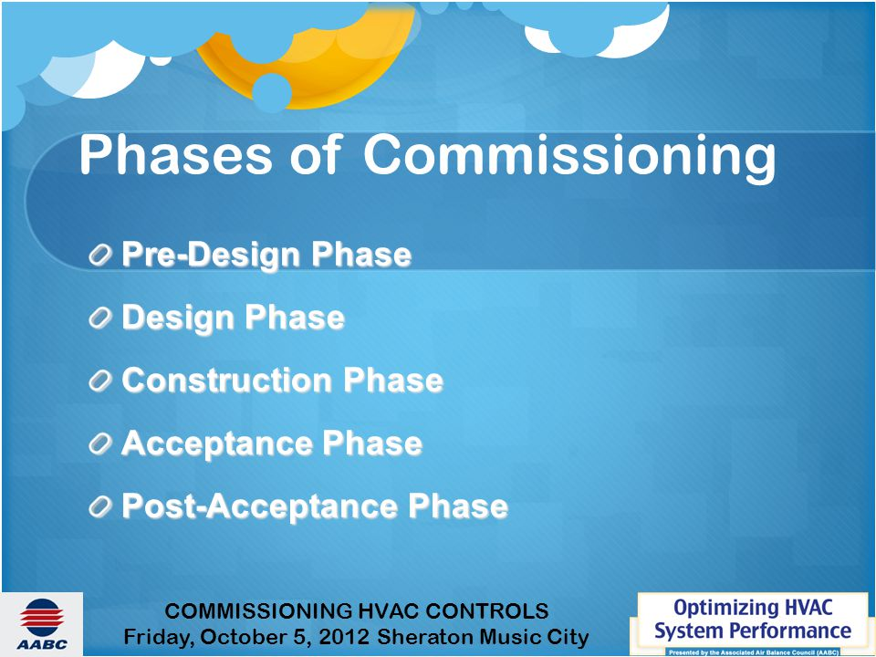 Phases of Commissioning