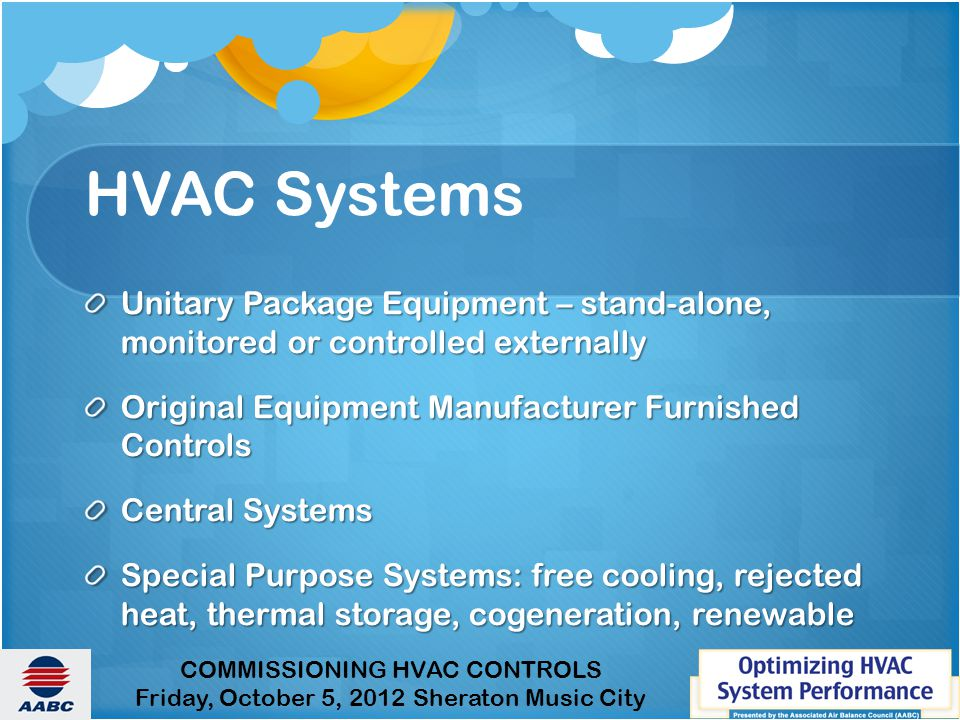 HVAC Systems Unitary Package Equipment – stand-alone, monitored or controlled externally. Original Equipment Manufacturer Furnished Controls.