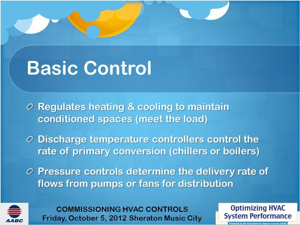Basic Control Regulates heating & cooling to maintain conditioned spaces (meet the load)