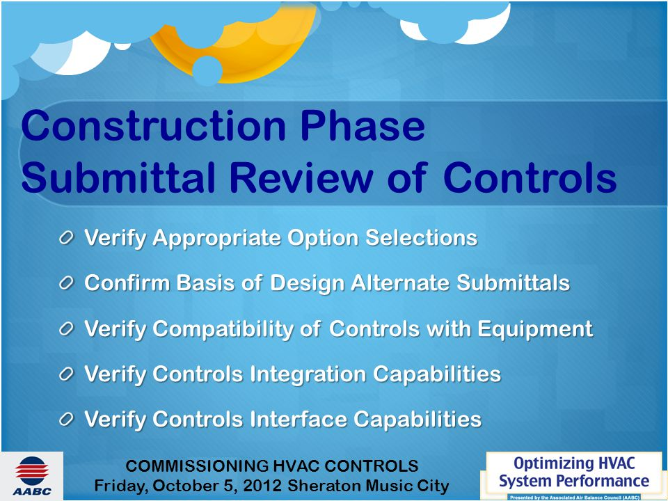 Construction Phase Submittal Review of Controls