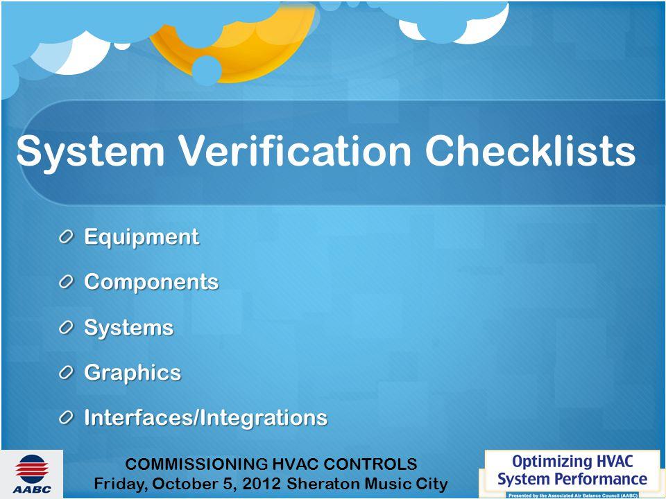 System Verification Checklists