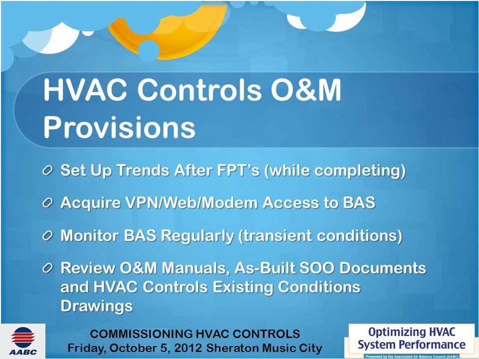 HVAC Controls O&M Provisions