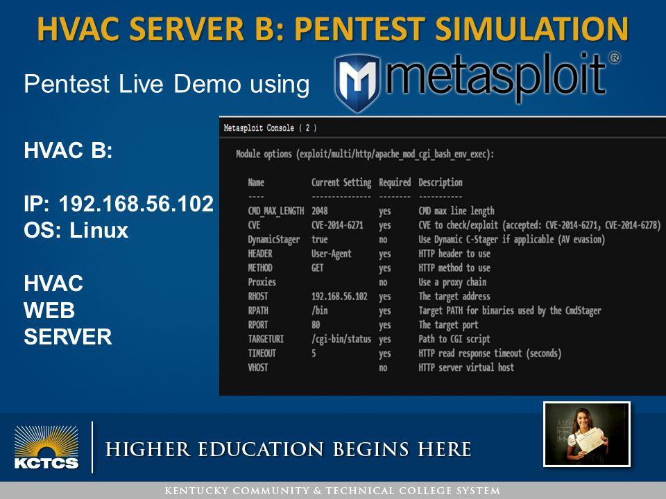 HVAC server B: pentest simulation