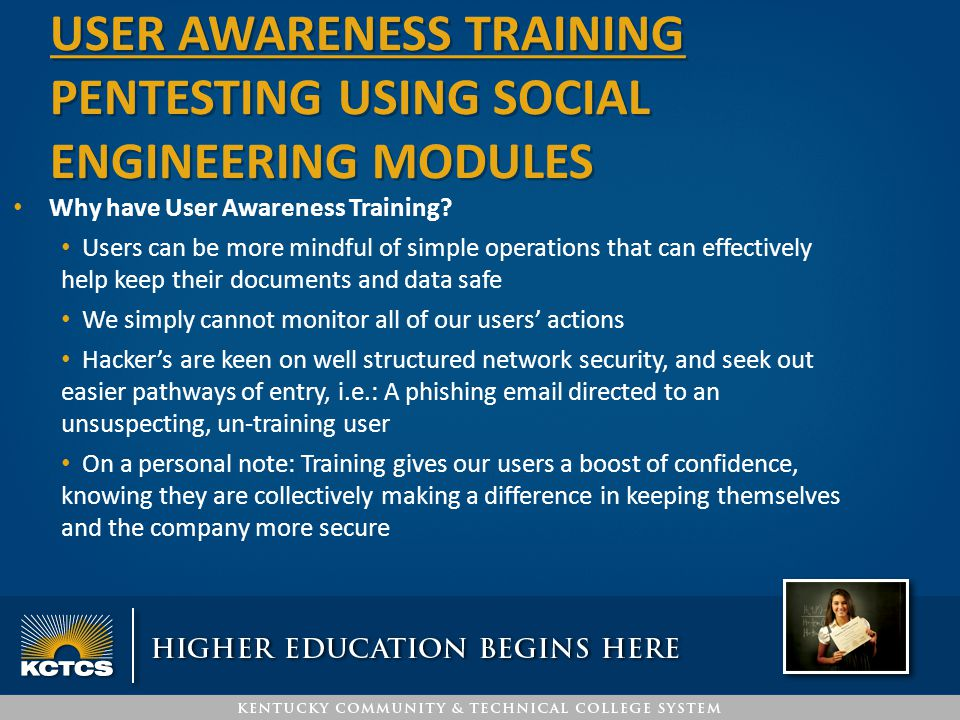 USER awareness training PENTESTING USING social engineering MODULES