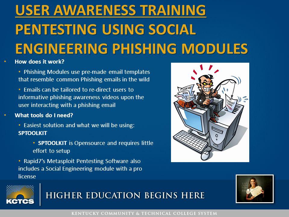 USER awareness training PENTESTING USING social engineering PHISHING MODULES