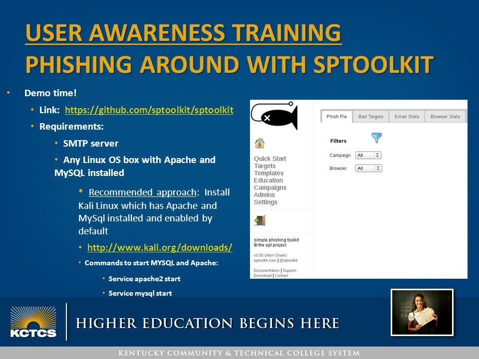 USER awareness training Phishing around with SPTOOLKIT