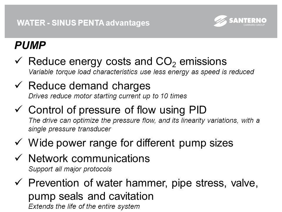 Wide power range for different pump sizes