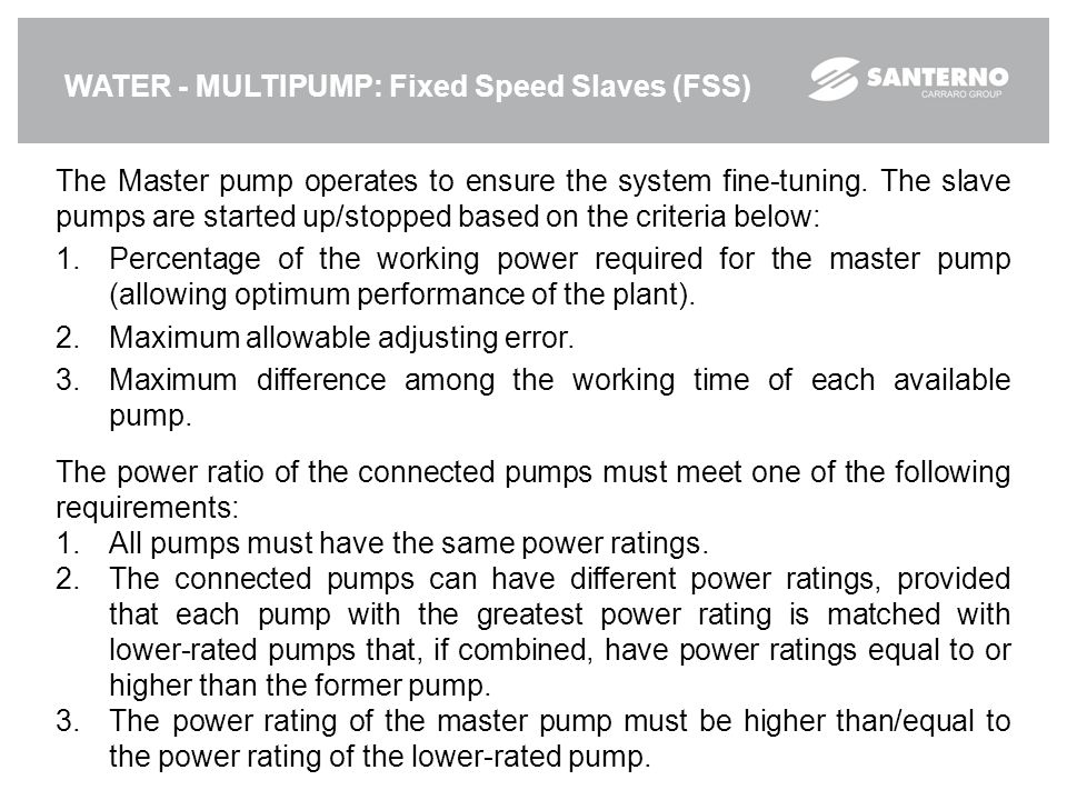 WATER - MULTIPUMP: Fixed Speed Slaves (FSS)